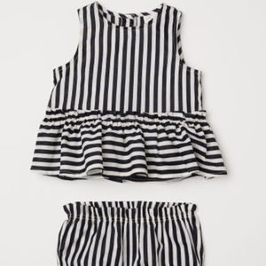 Girls Striped Black & White 2 Pc Blouse & Pants